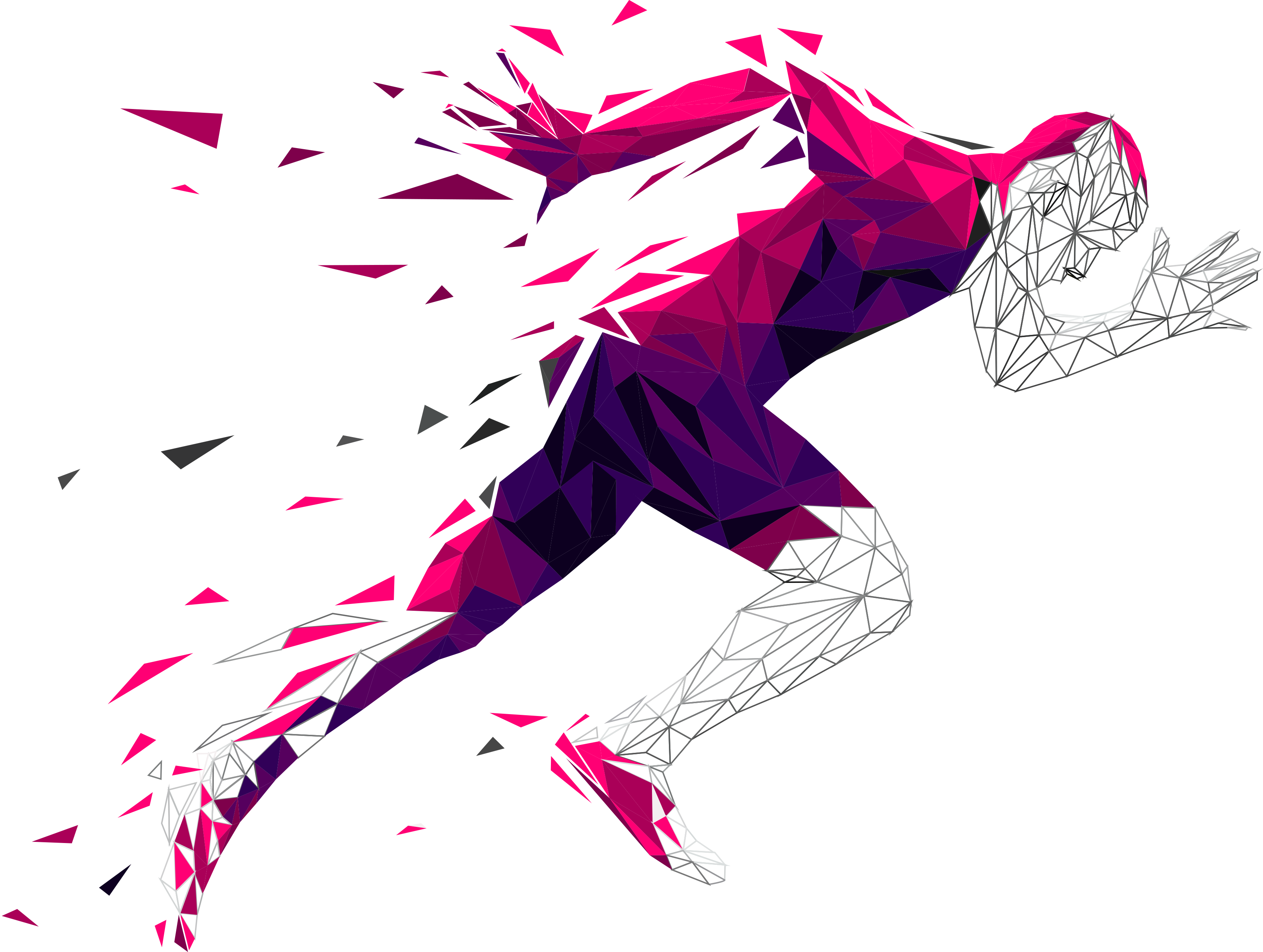 Purple person running